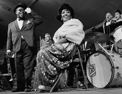 Louis Armstrong, Howard Brubeck, Carmen McRae, David Lambert and Yolande Bavan at the Monterey Jazz Festival, 1962