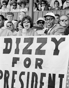 Dizzy Gillespie for president, with Ralph Gleason; Monterey Jazz Festival, 1964