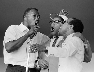 Joe Williams, Dizzy Gillespie and Jon Hendricks at the Monterey Jazz Festival, 1964